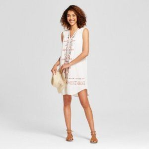 KNOX ROSE | embroidered boho causal dress L ,NWT